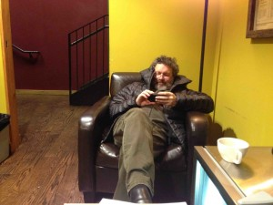 Steve Kimoch relaxes backstage