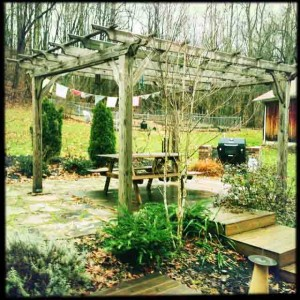 Our pergola with Tibetan prayer flags
