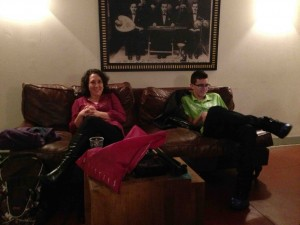 Gayle and Zach relax backstage before the ride back to Tel Aviv