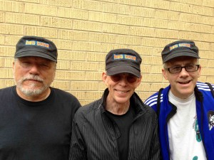 The boys get ready for the show in Durham with new Tuna Hats.