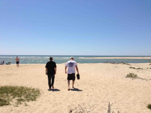 Barry and Myron on the beach at Chappaquiddick