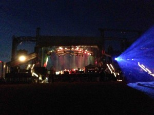 The backside of the main stage with Fogerty and Panic