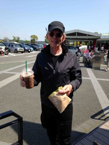 Jack pauses for a Starbucks