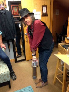 Pete Sears backstage with the cricket bat steel guitar