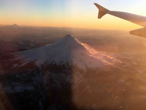 Mt. Hood from the window of the plane...
