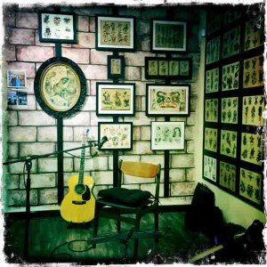 Jorma's guitar corner surrounded by flash