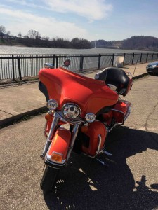 Here she is on the Pomeroy Levee... Mason, West Virginia bridge in the background