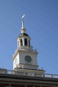 The steeple at Independence Hall