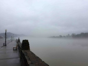 The Ohio River off Main St. in Pomeroy on Christmas Eve