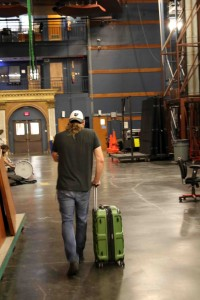 Myron heads for the laundry...