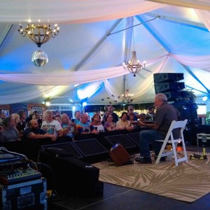 Notice the chandelier in the tent!