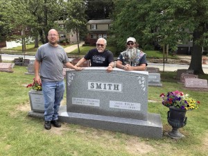 My and two of my good buddies at Annie and Dr. Bob's gravesite in Mt. Peace Cemetary
