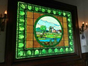 The Tiffany stained glass window on the landing